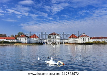 Nymphenburg palace in Munich, Germany  Nymphenburg palace is the biggest Baroque palace in Munich, Germany. The palace, together with its park, is now one of the most famous sights of Munich.   - stock photo