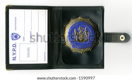 NYPD lieutenant ID wallet - stock photo