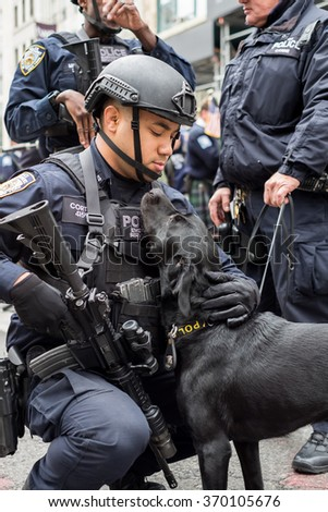 NYPD Special forces with police dog at Veterans Day Parade in NYC /   11/15/2015 - stock photo