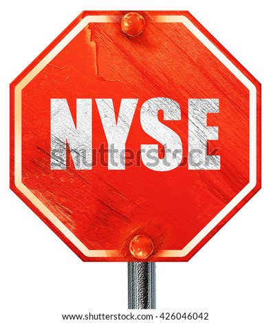 nyse, 3D rendering, a red stop sign