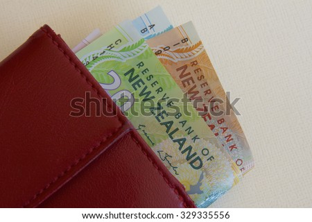 NZ Money in a Red Purse