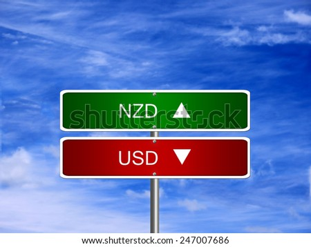 NZD USD symbol icon up down currency forex sign. - stock photo
