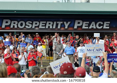 O'FALLON - AUGUST 31: Former fellow prisoner of war in Vietnam addresses crowd before Senator McCain and Saran Palin make their appearance at a rally in O'Fallon near St. Louis, MO on August 31, 2008 - stock photo
