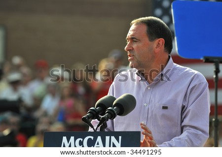 O'FALLON - AUGUST 31: Governor Mike Huckabee talks to the crowd at a McCain rally August 31, 2008 in O'Fallon, St. Louis, MO. - stock photo