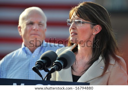 O'FALLON - AUGUST 31: Governor of Alaska and presidential Vice Presidential candidate Saran Palin at a rally in O'Fallon near St. Louis, MO on August 31, 2008 - stock photo