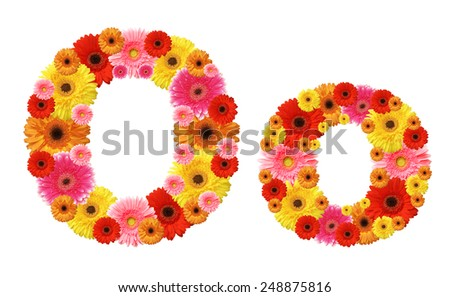 o, flower alphabet - stock photo