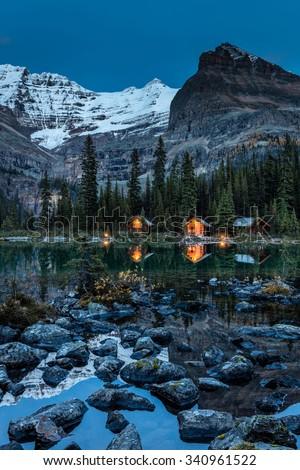 O'Hara Lake Lodge at twilight in Yoho National Park, British Columbia, Canada - stock photo