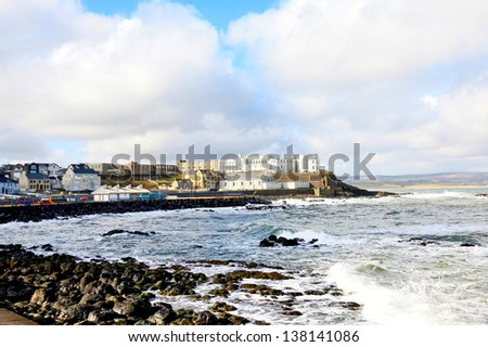 O'Hara's Castle and the seashore in Portstewart, Northern Ireland - stock photo