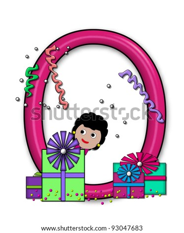 """O, in the alphabet set """"Birthday Letters"""", is surrounded by colorfully wrapped presents complete with bows.  Woman hides behind presents and peeks out pretending surprise. - stock photo"""