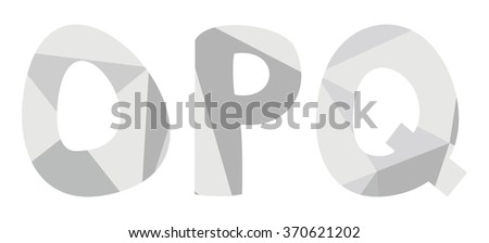 O, p, q low poly wrapping surface pastel grey alphabet letter isolated on white background - stock photo
