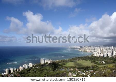 Oahu, Hawaii which desire Waikiki and the direction of Honolulu from the Diamond Head summit - stock photo