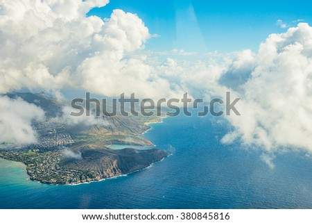 Oahu island coastal aerial view from helicopter - stock photo