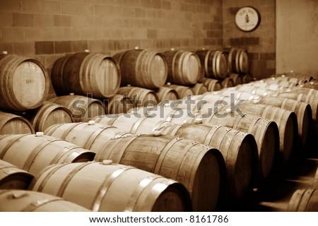 Oak barrels of wine in Vineyard Cellar - stock photo
