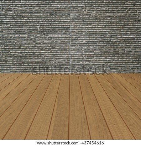 Oak color striped wooden floor with brick wall like natural stone in white,brown,red and gray color in perspective room box space