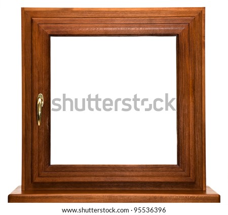 Oak laminated fiberglass window with gold handle isolated on white background - stock photo
