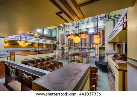 OAK PARK, ILLINOIS - JUNE 15, 2016: Interior of the Unity Temple designed by Frank Lloyd Wright on June 15, 2016 in Oak Park, Illinois