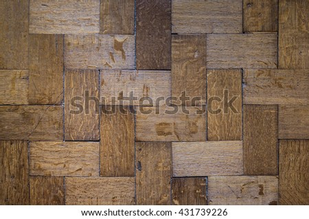 Oak Parquet.Hardwood Floors.Dark Old oak Floors.Oak flooring.Renovation House.Dingy Old Parquet.Old Oak Parquet. - stock photo