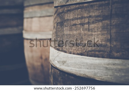 Oak Wine Barrel Close Up with Retro Film Instagram Style - stock photo