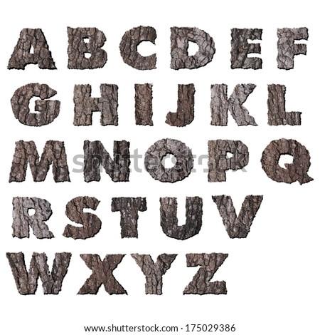 Oak wood bark alphabet - stock photo