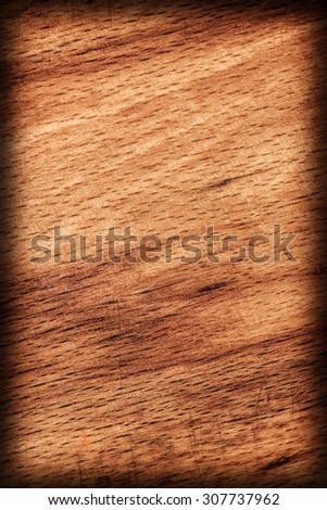 Oak Wood Bleached and Stained Yellow Ocher Vignette Grunge Texture Sample. - stock photo