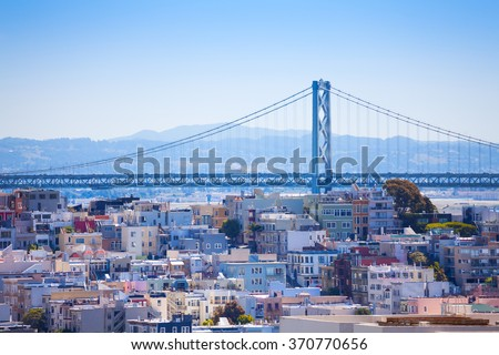 Oakland Bay Bridge view over the residential area - stock photo