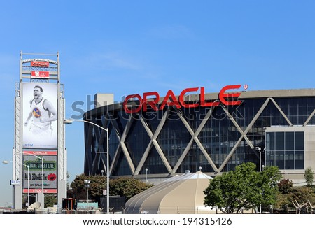 OAKLAND, CA � MARCH 19: The Oracle Arena located in Oakland on March 19, 2014. The Oracle Arena is a multi-purpose sports and concert venue which is home to the Golden State Warriors of the NBA. - stock photo