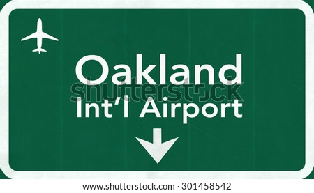 Oakland USA International Airport Highway Road Sign 2D Illustration