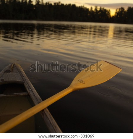 Oar on side of Boat at Lake, Lake of the Woods, Canada