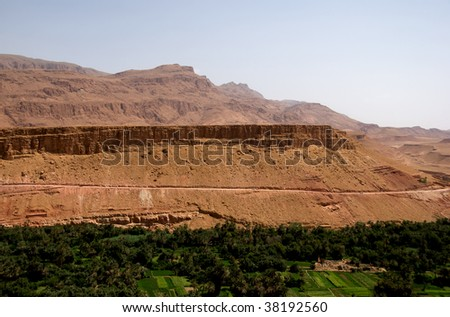Oasis in the border of Sahara; Morocco - stock photo