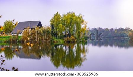 Oasis of relaxation on the lake. Comana natural park, Comana village, Giurgiu county, Romania. - stock photo
