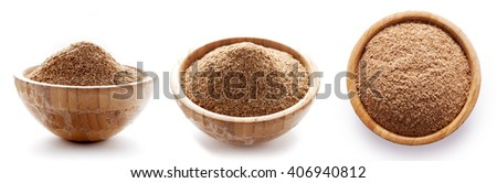 oat bran in bowl isolated on white background/ diet food/ three types of view - stock photo