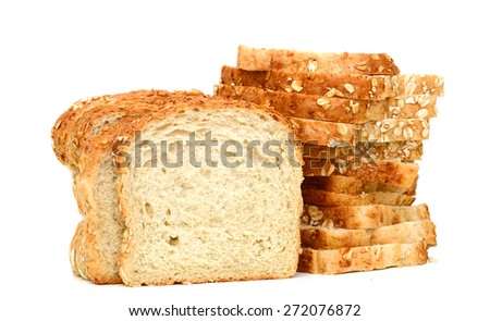 oat bread slices isolated on white  - stock photo