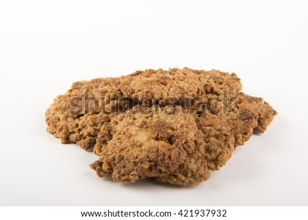 Oat Cookies on a white background - stock photo