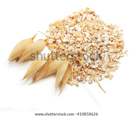 Oat ears of grain and bran isolated on white background - stock photo