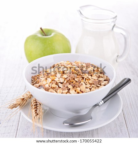 oat flakes, apple and milk - stock photo