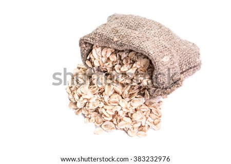 oat flakes isolated on white background, healthy food - stock photo