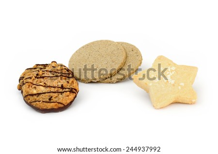 Oatcakes nutritious biscuit and Chocolate almond cookies homemade for coffee time in morning - stock photo