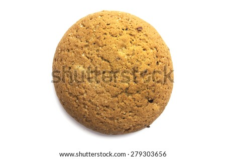 Oatmeal cookie on white background view from above