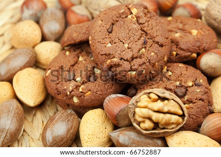 oatmeal cookies and nuts in a wicker mat