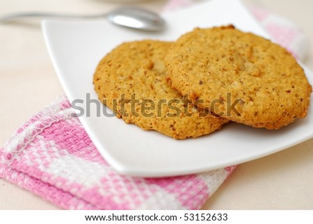 Oatmeal cookies for a healthy and nutritious breakfast. Concepts such as food and beverage, diet and nutrition, and healthy lifestyle.
