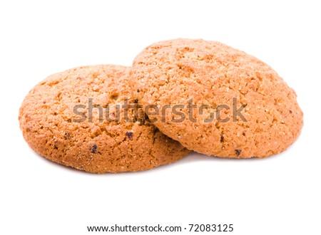 Oatmeal cookies isolate - stock photo