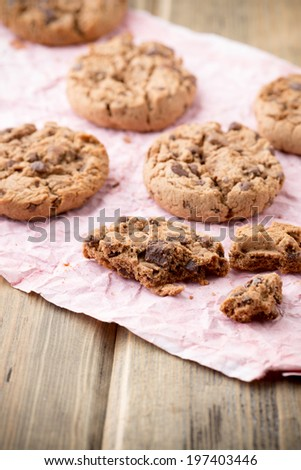 Oatmeal cookies with chocolate chips. Studio photography.
