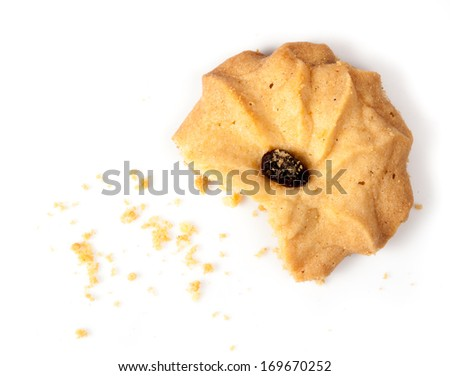 Oatmeal cookies with raisin on a white background - stock photo