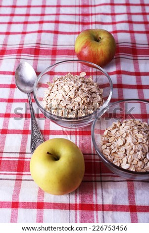 Oatmeal in bowls, mug of milk and apples on checkered fabric background