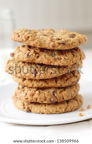 Oatmeal raisin cookie tower made with applesauce. - stock photo