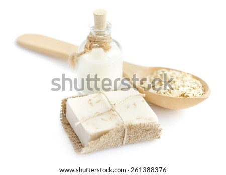 Oatmeal Soap handmade for a natural clean on a white background - stock photo