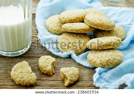 oatmeal with bran on a dark wood background. tinting. selective focus - stock photo