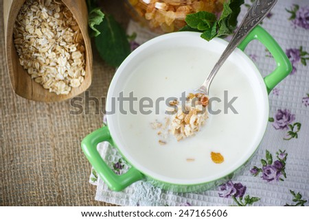 oatmeal with milk and raisins in a bowl