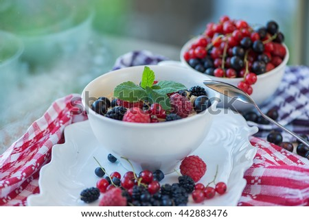 Oatmeal with ripe berries - stock photo