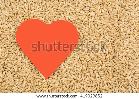 Oats and heart. health concept